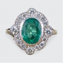 SOLD Contemporary Art Deco Style Emerald and Diamond Cluster Ring in Platinum and 18ct White Gold