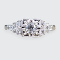 Diamond Set Art Deco Staged Ring in Platinum and 18ct White Gold