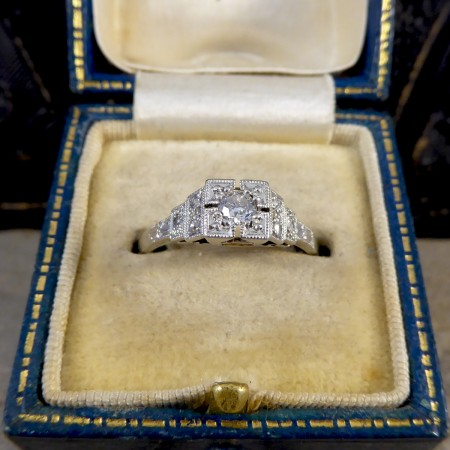 SOLD Diamond Set Art Deco Staged Ring in Platinum and 18ct White Gold