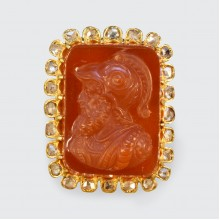 SOLD Late Victorian Hard Stone Cameo and Diamond Halo in 14ct Yellow Gold