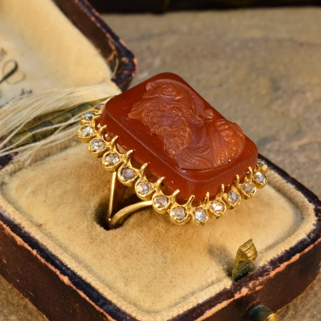 Late Victorian Hard Stone Cameo and Diamond Halo in 14ct Yellow Gold