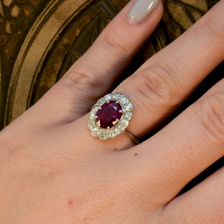 Edwardian Ruby and Diamond Cluster Ring in 18ct White Gold and Platinum