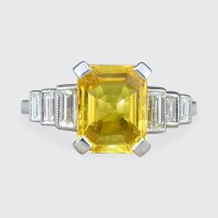 SOLD Contemporary Art Deco Style Yellow Sapphire Ring with Baguette Diamond Shoulders in Platinum