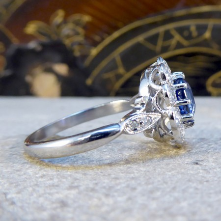 Contemporary Edwardian Style Sapphire and Diamond Cluster Ring in Platinum