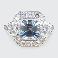 SOLD Modern 1.00ct Aquamarine and Diamond Cluster Ring set in Platinum