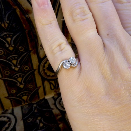 1940's Two Stone Diamond Twist Ring in 18ct White Gold