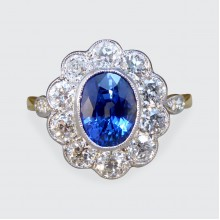 Contemporary 1.65ct Sapphire and Diamond Cluster Ring in 18ct Yellow Gold and Platinum