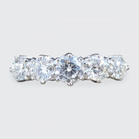 Contemporary 1.30ct Total Five Stone Diamond Ring in Platinum