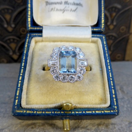 Contemporary Edwardian Style 1.50ct Aquamarine and Diamond Ring in 18ct Gold