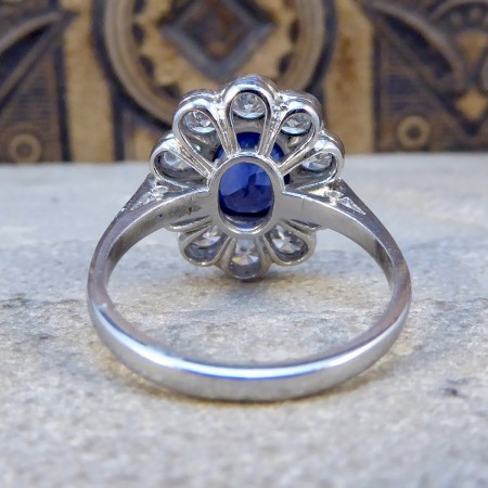 1.70ct Sapphire and 1.35ct Total Diamond Cluster Ring in Platinum
