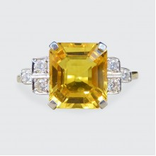 SOLD Contemporary 2.60ct Yellow Sapphire and Diamond Ring in 18ct Yellow and White Gold