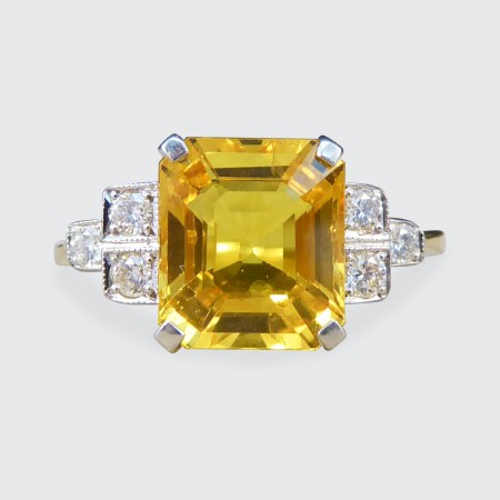 Contemporary 2.60ct Yellow Sapphire and Diamond Ring in 18ct Yellow and White Gold