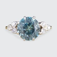 Vintage 2.20ct Blue Zircon and Diamond Ring in Platinum and 18ct Yellow Gold