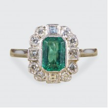 0.50ct Emerald and Diamond Cluster Ring in Platinum