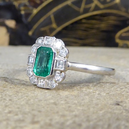 SOLD 0.50ct Emerald and Diamond Cluster Ring in Platinum