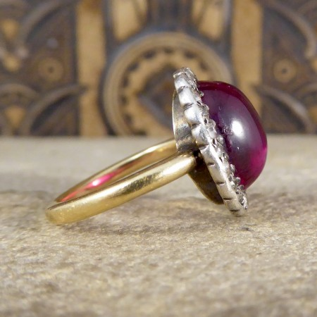 Edwardian Cabochon Crown Synthetic Ruby and Diamond Cluster Ring in 18ct Yellow Gold and Silver