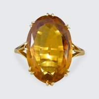 Antique Edwardian Citrene Ring in 18ct Yellow Gold