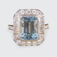 Contemporary Art Deco Style 2.20ct Aquamarine and Diamond Cluster Ring in Platinum