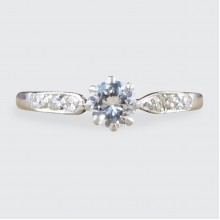 1930's Diamond Solitaire Ring with Diamond set Shoulders in Platinum