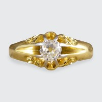 Antique Late Victorian Gypsy set Diamond Ring with Detailed Shoulders in 18ct Yellow Gold