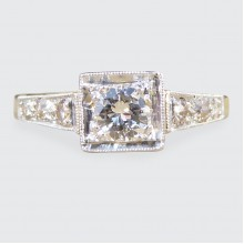 0.30ct Diamond Set Art Deco Square Faced Solitaire Ring in 18ct Yellow and White Gold