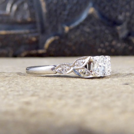 0.31ct Diamond Set Edwardian Square Faced Solitaire Ring with Shoulders in Platinum