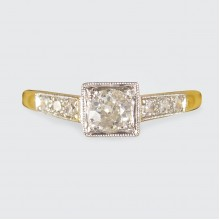 Diamond Set Art Deco Square Faced Solitaire Ring in Platinum and 18ct Yellow Gold