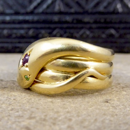 Vintage Ruby and Garnet Snake Ring in 18ct Yellow Gold