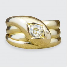 Late Victorian Diamond set Serpent Ring in 18ct Yellow Gold