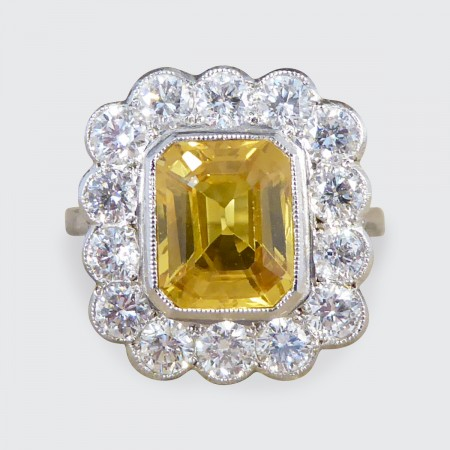 3.00ct Yellow Sapphire and 1.35ct Diamond Cluster Ring in Platinum