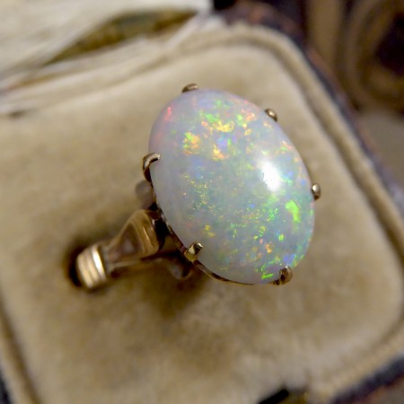 Vintage Single Oval Opal Ring in 9ct Yellow Gold with Heart Detailed Gallery