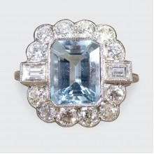 Contemporary Edwardian Style 1.60ct Aquamarine and Diamond Ring in Platinum