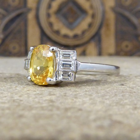Contemporary Art Deco Style 1.60ct Yellow Sapphire Ring with Baguette Diamond Shoulders in Platinum