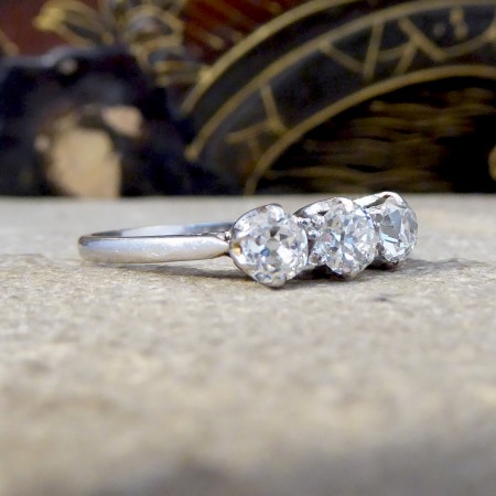 Edwardian Three Stone Old European Cut Diamond Ring set in Platinum