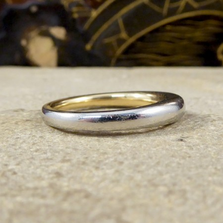 Vintage Plain Wedding Band 18ct Yellow Gold Inside 18ct White Gold Outside