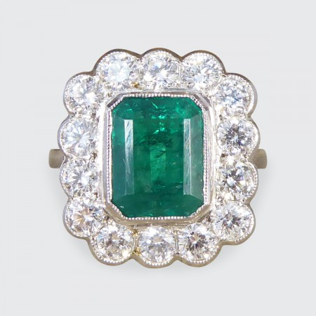 Edwardian Style 1.85ct Emerald and Diamond Cluster Ring in Platinum