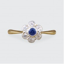 SOLD Edwardian Sapphire and Diamond Flower Cluster Ring in 18ct Yellow and White Gold
