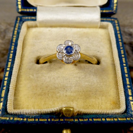 Edwardian Sapphire and Diamond Flower Cluster Ring in 18ct Yellow and White Gold