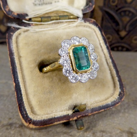 Contemporary Edwardian Style 0.85ct Emerald and Diamond Cluster Ring in 18ct Gold