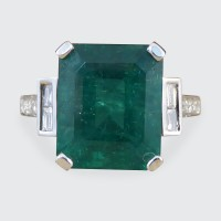 5.62ct Emerald Cut Medium Coloured Emerald and Diamond Ring in 18ct White Gold