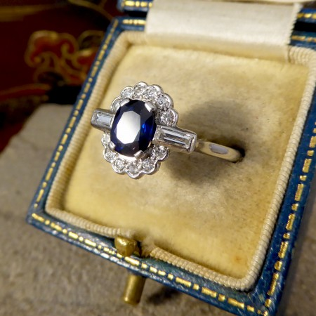Art Deco 1.25ct Sapphire and Diamond Cluster Ring with Baguette Diamond Shoulders in Platinum