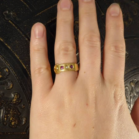Late Victorian Ruby and Diamond set Buckle Ring in 18ct Yellow Gold