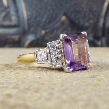SOLD Art Deco Amethyst and Diamond Ring in 18ct Yellow Gold and Platinum
