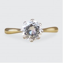 0.85ct Brilliant Cut Diamond Solitaire Engagement Ring in 18ct Yellow Gold and Platinum