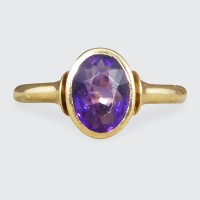 Edwardian Amethyst Collar Ring set in 18ct Yellow Gold