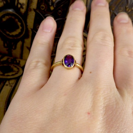 SOLD Edwardian Amethyst Collar Ring set in 18ct Yellow Gold