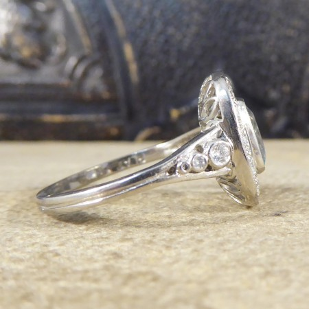 Modern Art Deco Style 1.50ct Aquamarine and Diamond Cluster Ring with Diamond Shoulders in Platinum
