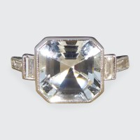 Contemporary 1.00ct Light Aquamarine and Diamond Shoulder Ring in Platinum