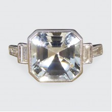 SOLD Contemporary 1.00ct Light Aquamarine and Diamond Shoulder Ring in Platinum