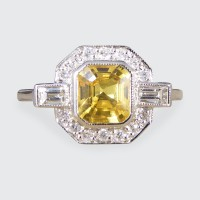 Contemporary 1.20ct Yellow Sapphire and Diamond Engagement Ring in Platinum